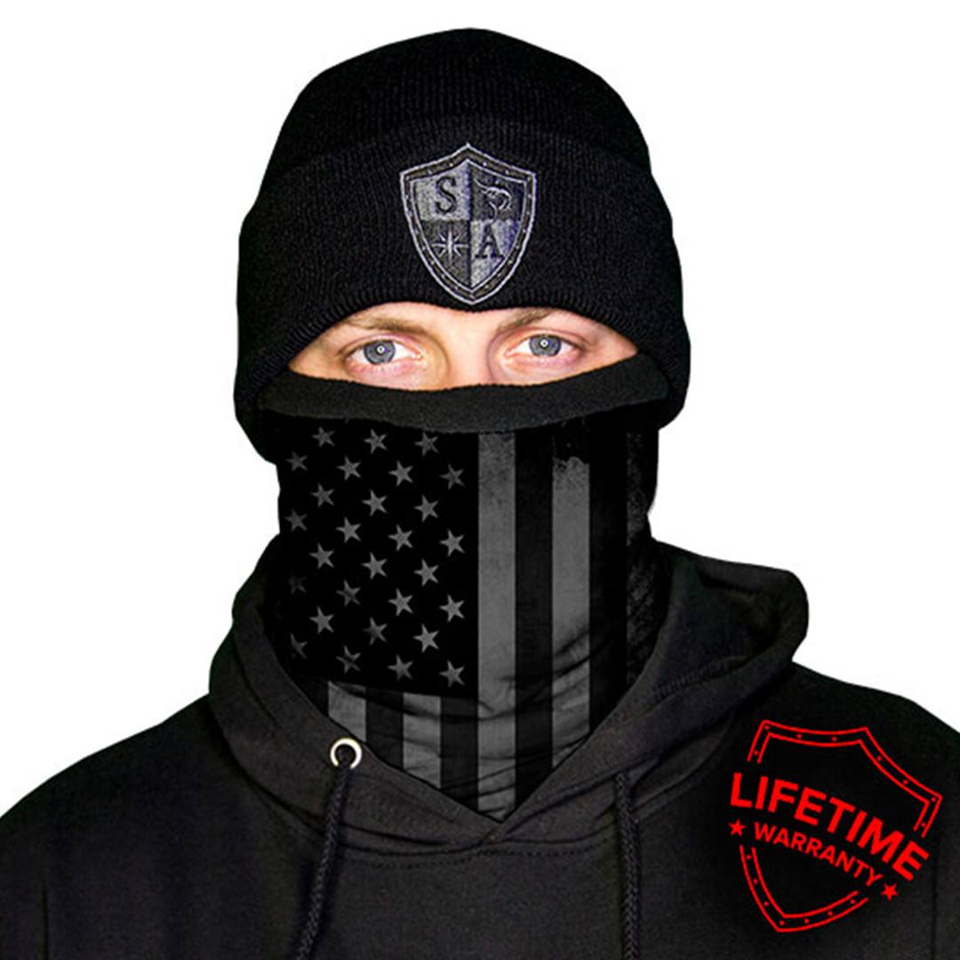 SA American flag thermal face shield black.
