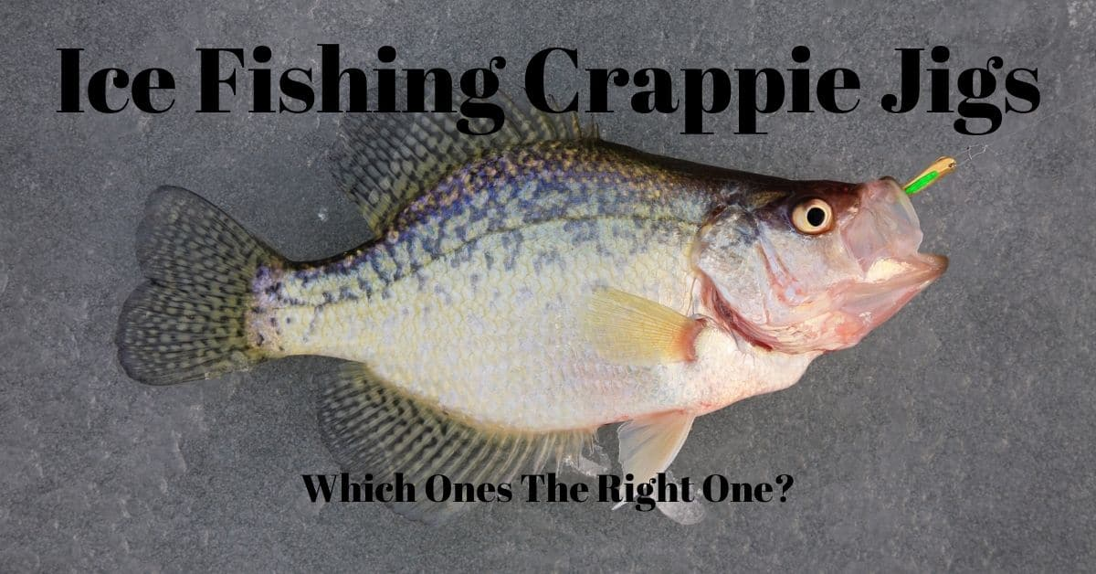 A crappie with lure in its mouth laying on a frozen lake and the words Ice Fishing Crappie Jigs