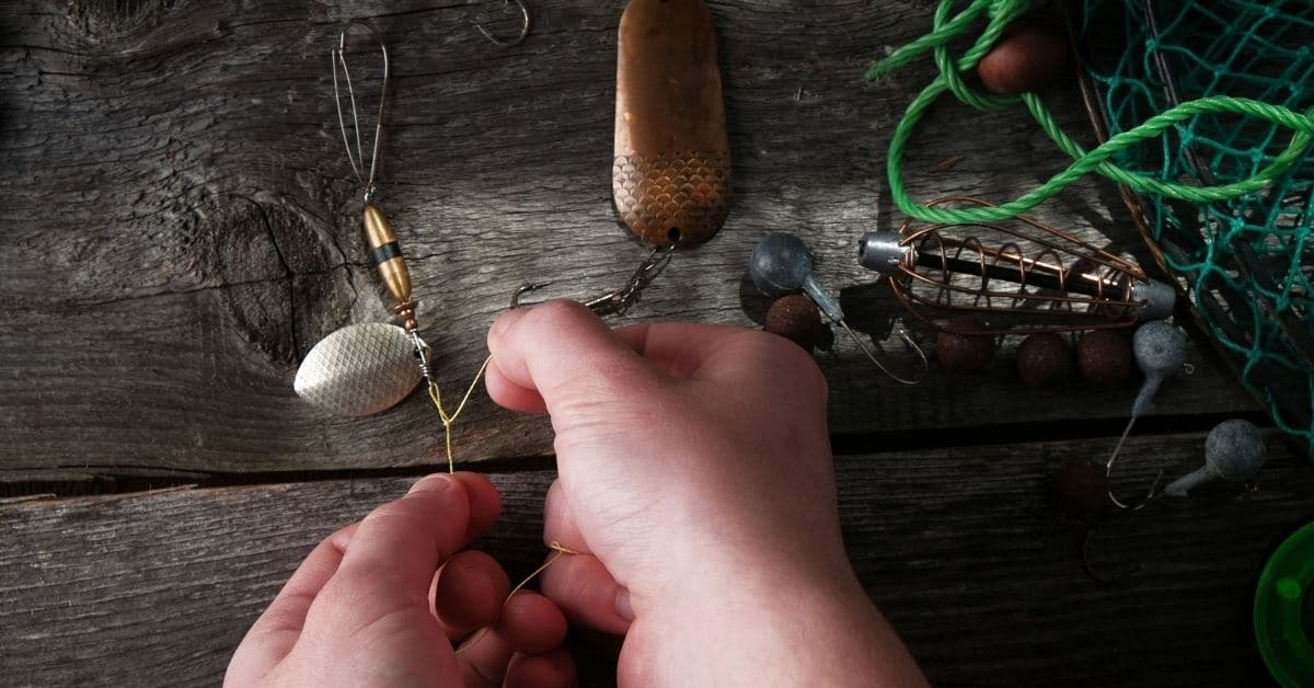 Angler tying a fishing knot