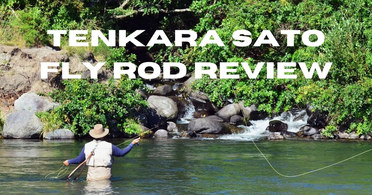 Man fly fishing and the words tenkara sato fly rod review
