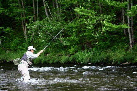 Man tenkara fly fishing in a stream.