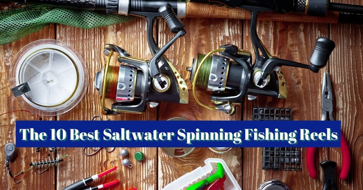 Fishing rods and saltwater spinning reels in the composition with accessories for fishing on the old background on the table