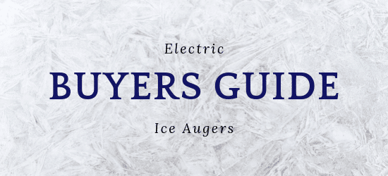 Electric ice augers buyers guide with ice crystals in the background.