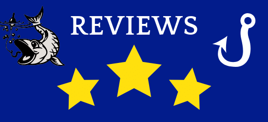Reviews, 3 stars, blue background, fish and white hook