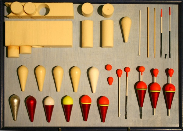 Various types of fishing floats