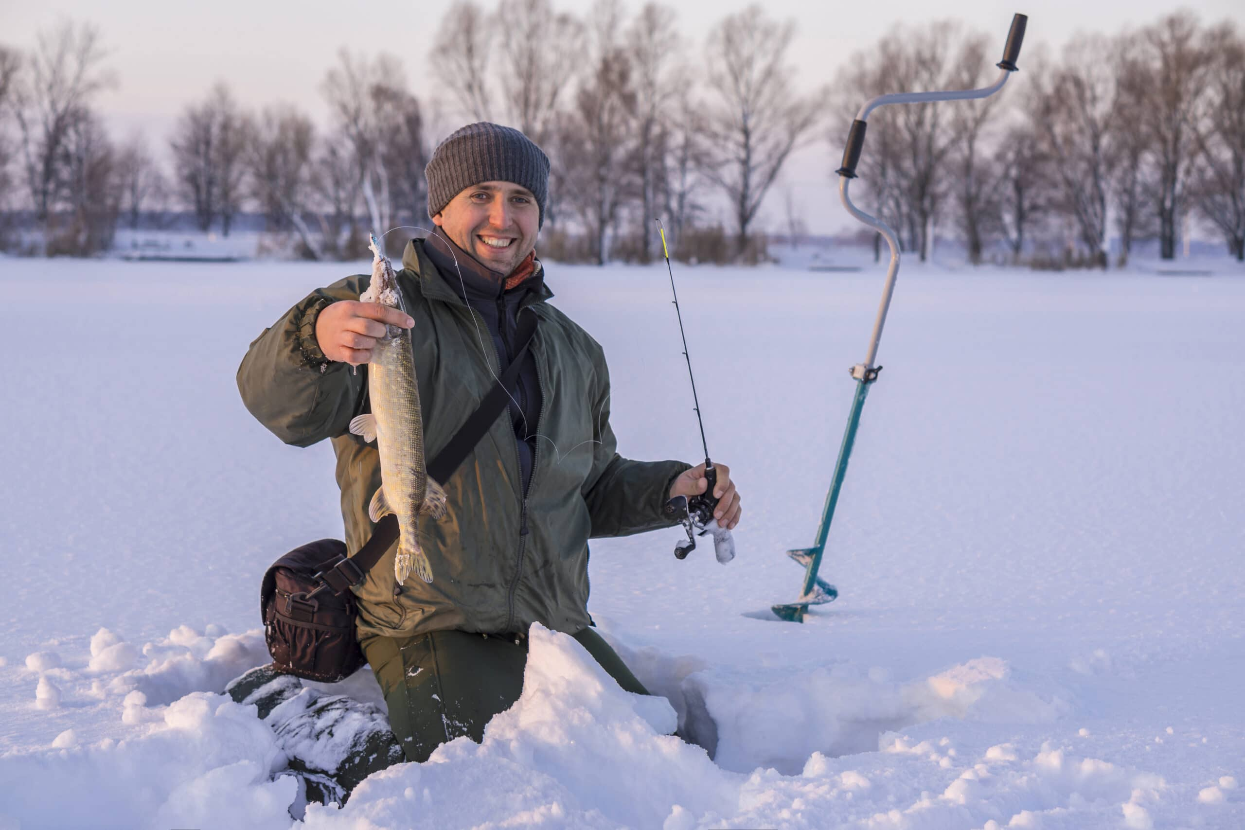 Winter fishing concept. Fisherman in action with trophy in hand. Catching pike fish from snowy ice at lake.