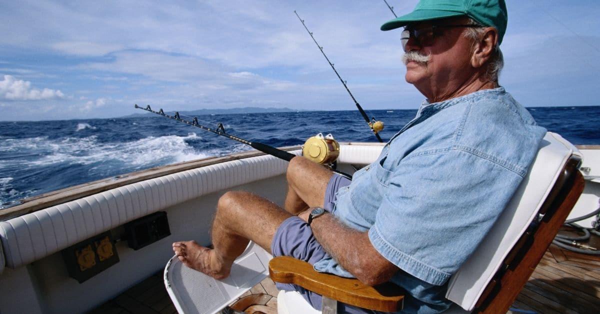 Man on Boat Deep Sea Fishing