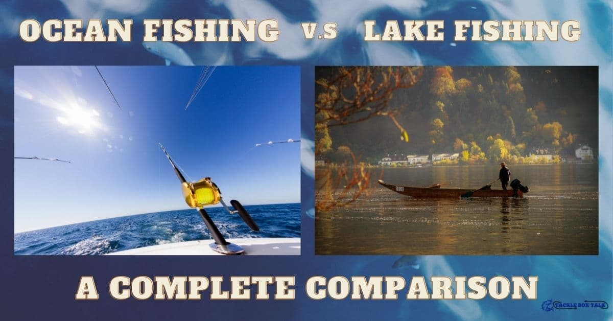 Image of a fishing pole trolling at the end of a boat on an ocean. Image of a boat and angler fishing on a lake.